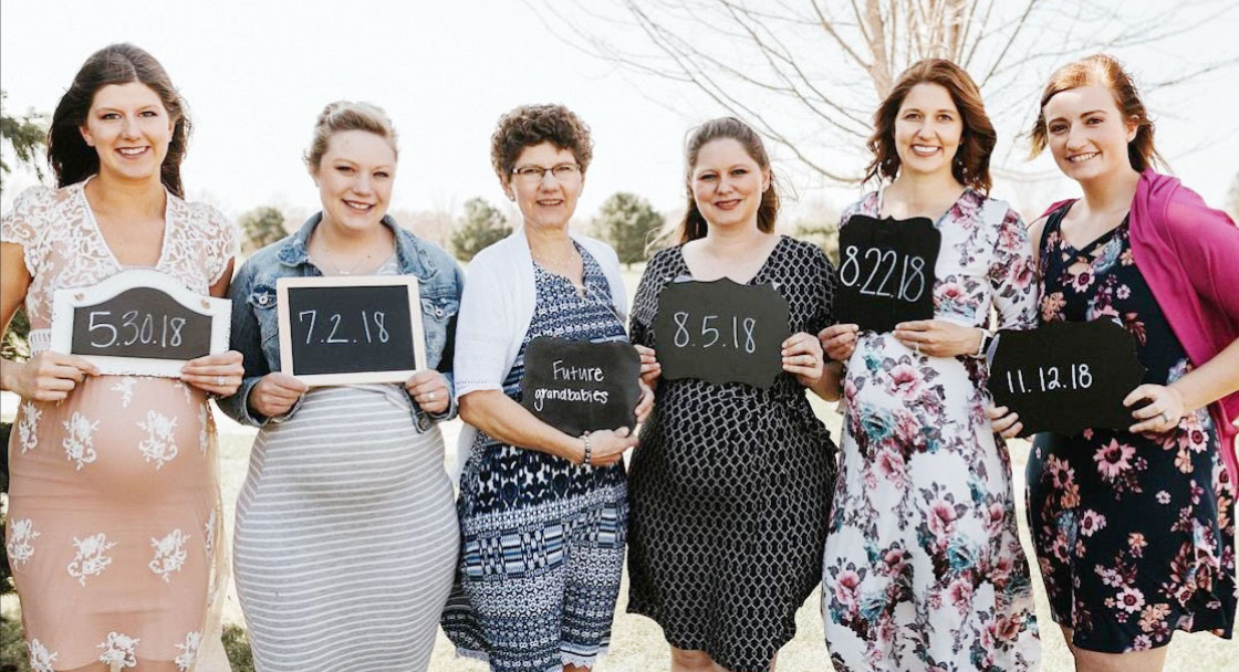 Expectant mothers gathered with the expectant Grandmother, Debbie Brunssen, last May. They are: Andrea Gubbels, Sydney Brunssen, Grandma Debbie, Tanya Huwaldt, Cla- rissa Schumacher, and Jaci Brunssen. The girls all held signs showing their due dates.