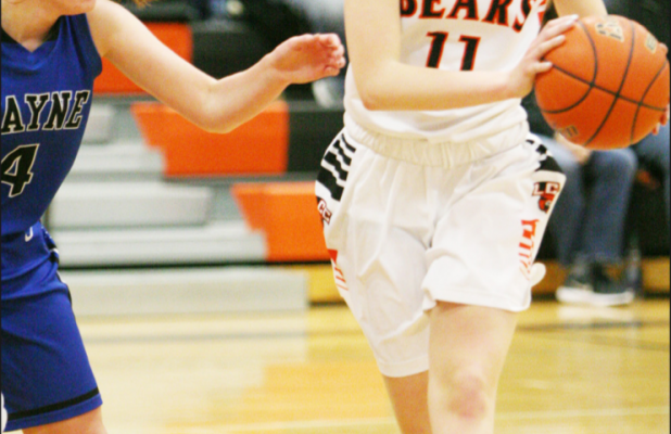 Makayla Forsberg looks for a teammate during Tuesday's 60-58 loss to Wayne. The Lady Bears bounced back from the loss to defeat Creighton in Lewis and Clark Conference action later in the week.