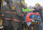 Osmond ambulance crews were on site at the scene of a truck-school bus accident east of Osmond Tuesday afternoon