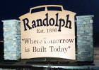 One of the two new Randolph welcome signs